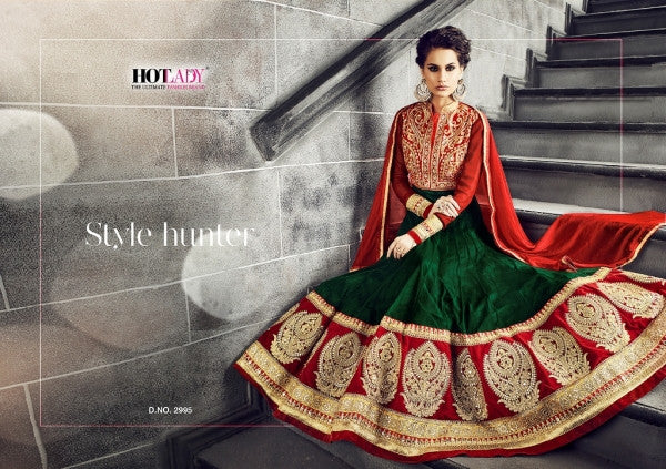 PRK4841 Ethnic Alluring Green Red Georgette Anarkali Gown - Fashion Nation