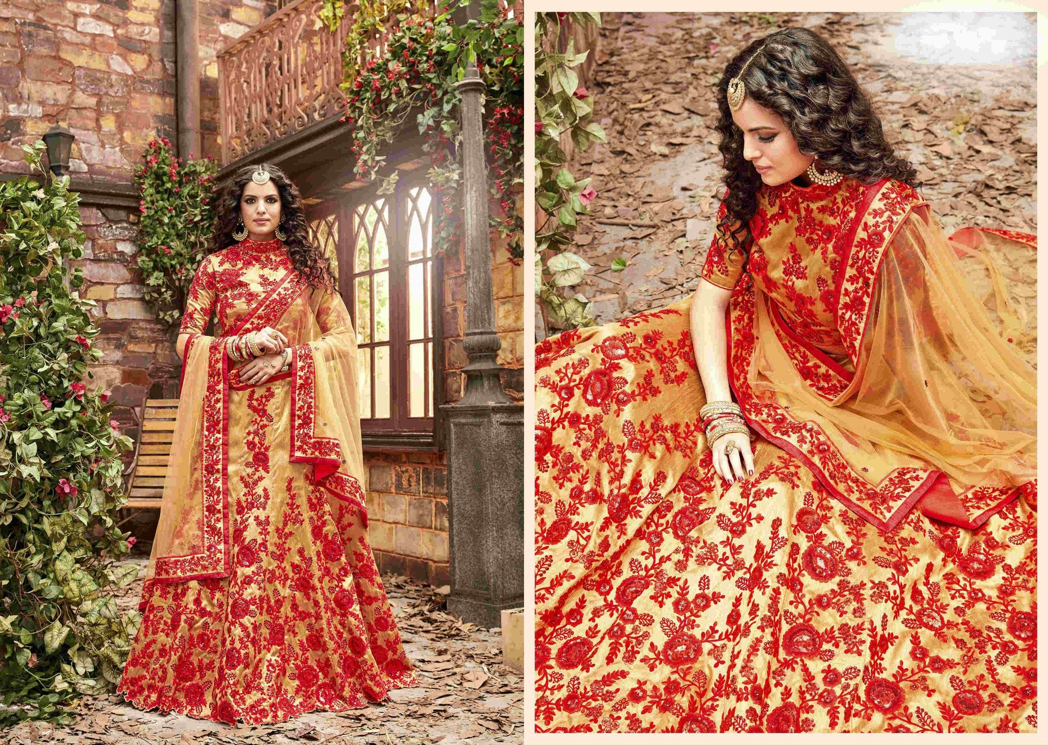 Attractive PRL1493 Traditional Golden Red Silk Lehenga Choli - Fashion Nation