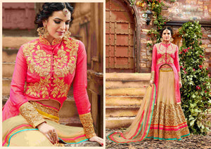 Stylish PRL1496 Traditional Beige Pink Net Silk Lehenga Choli - Fashion Nation