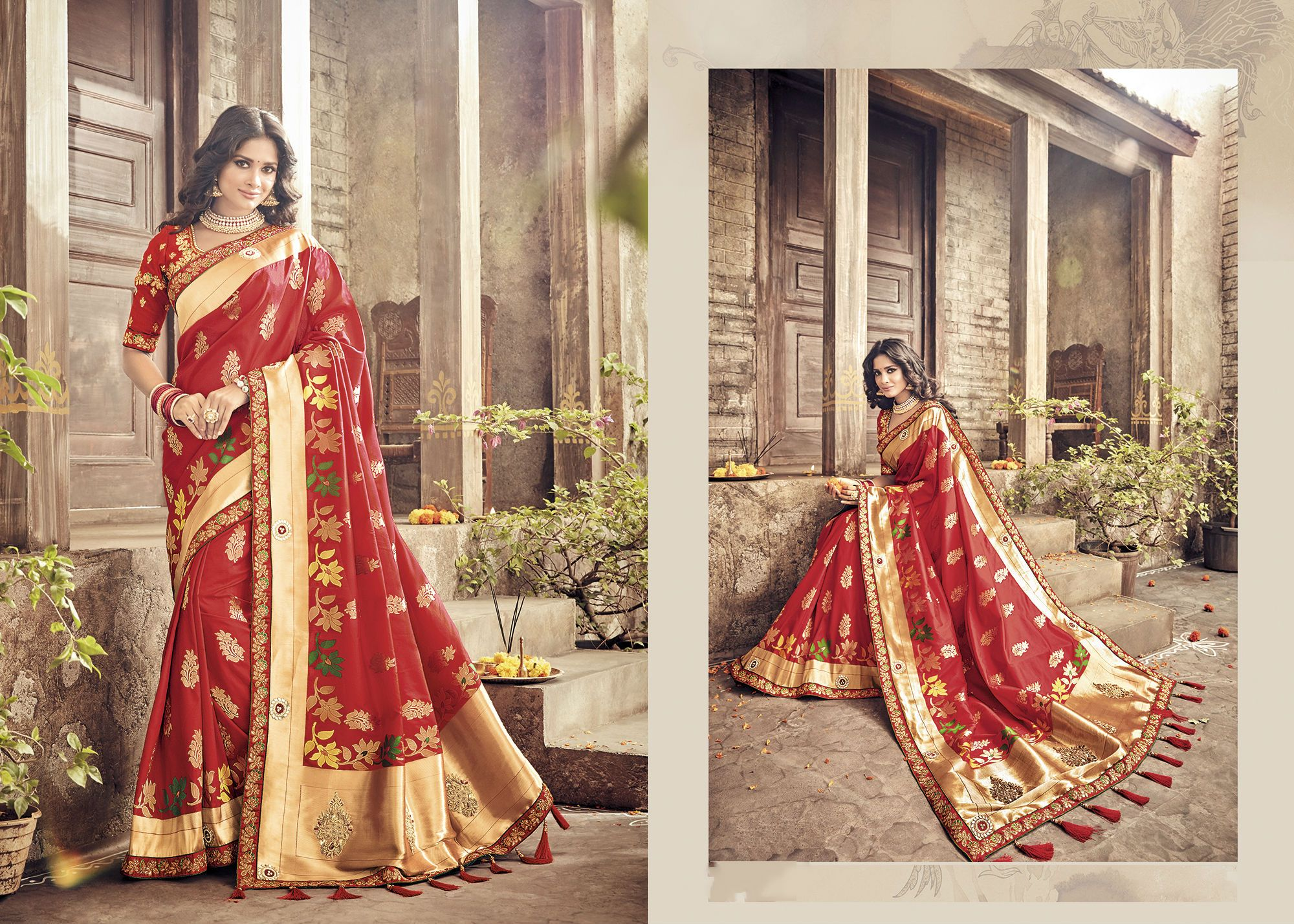 Bridal PRM5411 Wedding Wear Red Banarasi Silk Saree - Fashion Nation