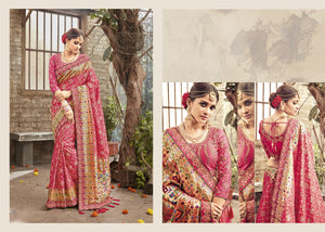 Embroidered PRM5417 Wedding Wear Pink Banarasi Silk Saree - Fashion Nation