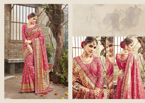 Embroidered PRM5417 Wedding Wear Pink Banarasi Silk Saree