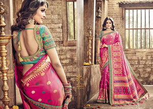 Beautiful PRM5419 Wedding Wear Pink Sea Green Banarasi Silk Saree - Fashion Nation