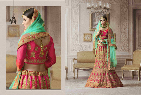 Bright PRM5674 Lovely Pink Sea Green Art Silk Net Lehenga Choli