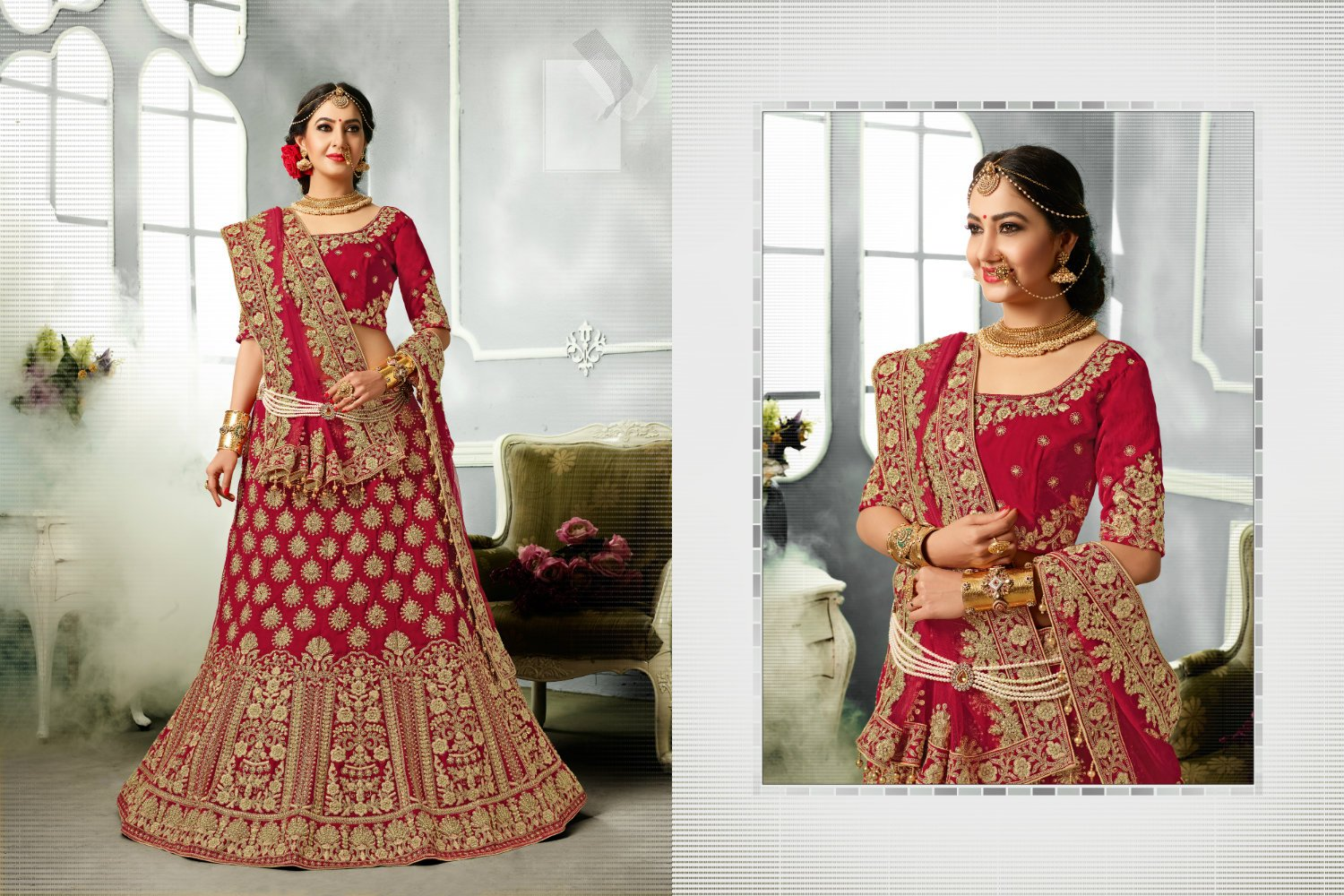 Bridal PRM7397 Wedding Special Maroon Velvet Satin Silk Net Lehenga Choli - Fashion Nation