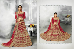 Ethnic Bridal PRM7401 Wedding Special Maroon Velvet Satin Silk Net Lehenga Choli - Fashion Nation
