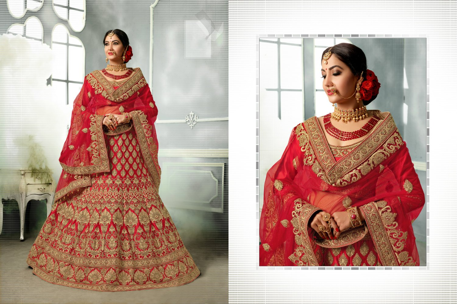 Beautiful Bridal PRM7404 Wedding Special Red Satin Silk Net Lehenga Choli - Fashion Nation