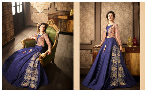 Partywear Indo Western PRM8324 Blue Beige Silk Jacket Top with Lehenga