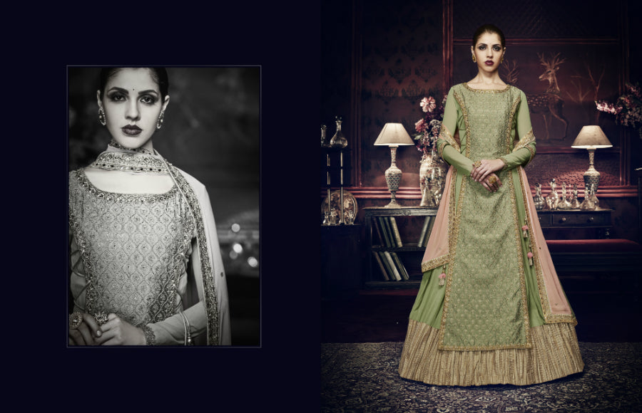 Trendy Indo Western PRM9196 Green Peach Georgette Silk Floor Length Anarkali by Nakkashi