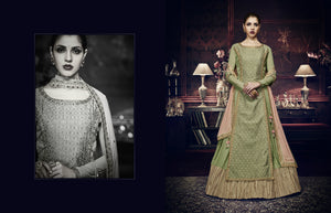 Trendy Indo Western PRM9196 Green Peach Georgette Silk Floor Length Anarkali - Fashion Nation