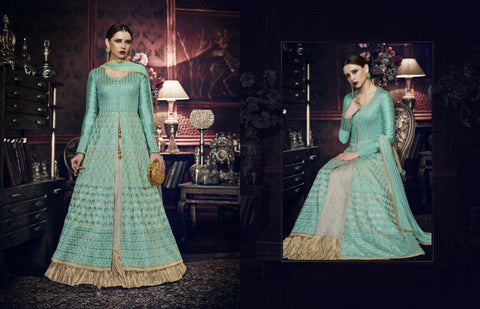 Attractive Indo Western PRM9197 Aqua Blue Grey Silk Anarkali with Lehenga - Fashion Nation