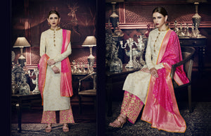 Festive PRM9198 Off-White Pink Tussar Silk Jacquard Salwar Suit by FashionNation
