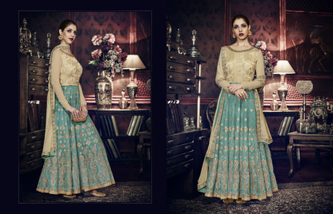 Unique Indo Western PRM9199 Aqua Blue Beige Silk Floor Length Anarkali - Fashion Nation