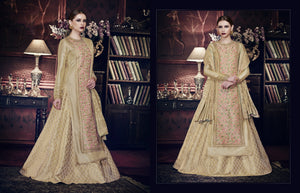 Partywear Indo Western PRM9201 Beige Silk Brocade Jacquard Anarkali with Lehenga by FashionNation