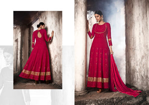 Evening Party Wear Red Georgette Lucknowi Floor Length Suit - Fashion Nation