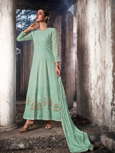 Function Wear Aqua Georgette Lucknowi Long Indo Western Suit - Fashion Nation