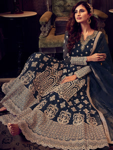 Evening Party Blue Designer Sharara Suit - Fashion Nation
