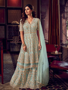 Cocktail Party Blue Fashionable Double Layered Sharara Suit - Fashion Nation