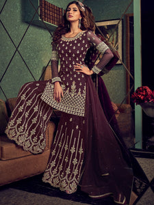Engagement Party Magenta Designer Sharara Suit - Fashion Nation
