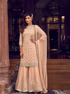 Ceremonial Party Wear Peach Designer Sharara Suit - Fashion Nation