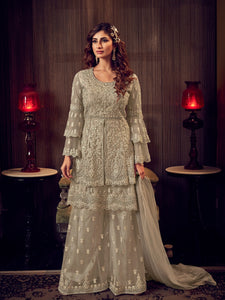 Marriage Party Sand Grey Double Layered Sharara Suit - Fashion Nation