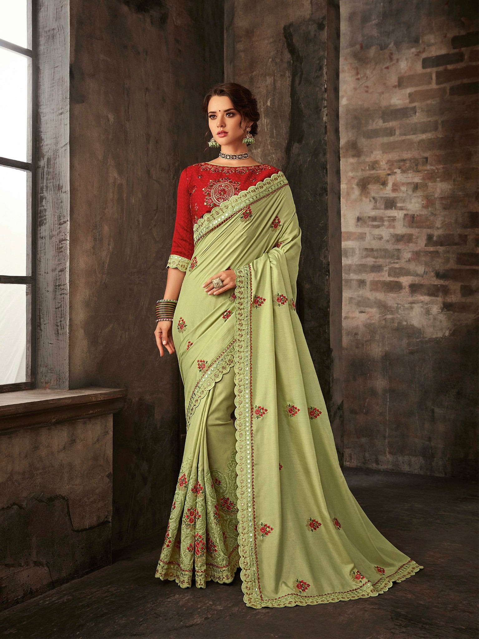 Beautiful RA21601 Designer Lime Green Red Silk Saree - Fashion Nation