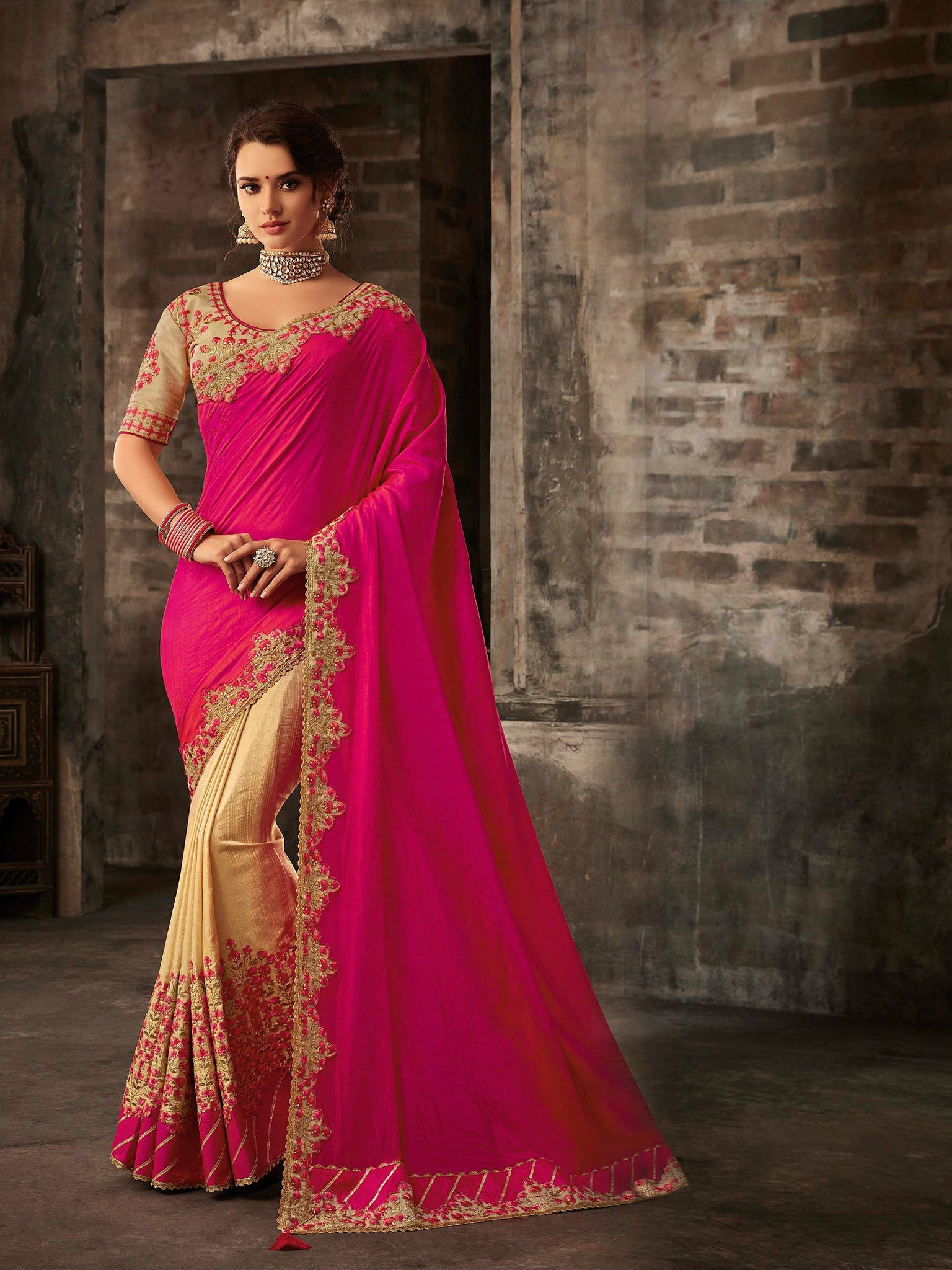 Ethnic RA21610 Designer Pink Beige Golden Silk Saree - Fashion Nation