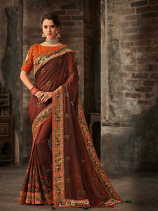 Splendid RA21613 Designer Brown Orange Silk Saree - Fashion Nation.in