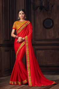 Ceremony Special Red Silk Saree with Yellow Blouse by Fashion Nation
