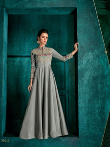Suave ROZ51013 Indo Western Grey Silk Floor Length Gown - Fashion Nation