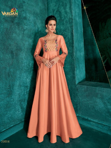 Fashionable ROZ51014 Indo Western Peach Silk Floor Length Gown - Fashion Nation