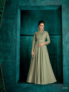Trendy ROZ51016 Indo Western Green Silk Floor Length Gown - Fashion Nation