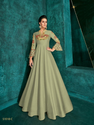 Amazing ROZ51018C Indo Western Green Silk Floor Length Gown - Fashion Nation
