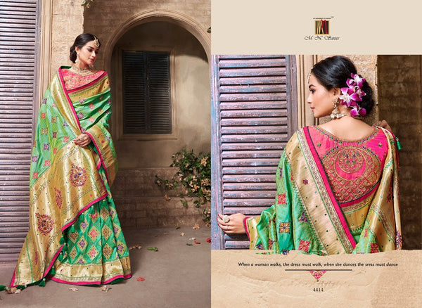 Alluring MN4414 Gorgeous Green Pink Benarasi Silk Saree - Fashion Nation