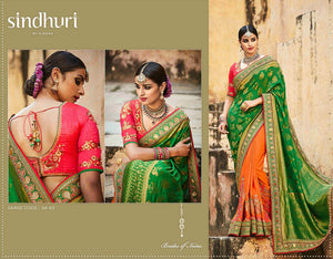 Artistic Kimora SA63 Bridal Green Orange Silk Jacquard Saree - Fashion Nation
