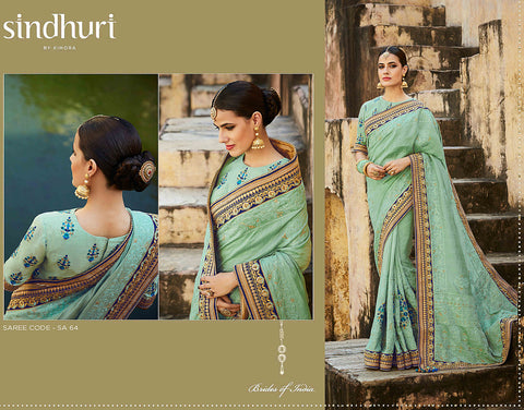 Finest Kimora SA64 Bridal Aqua Tussar Silk Saree - Fashion Nation