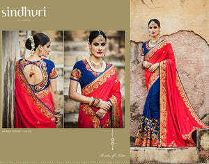 Traditional Kimora SA65 Bridal Blue Red Tussar Silk Saree - Fashion Nation