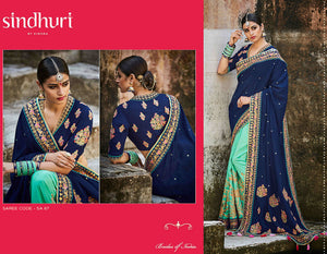 Superb Kimora SA67 Bridal Blue Aqua Tussar Silk Saree - Fashion Nation.in