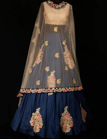 Stylish SF5126 Bollywood Inspired Blue Multicoloured Silk Lehenga Choli by Fashion Nation