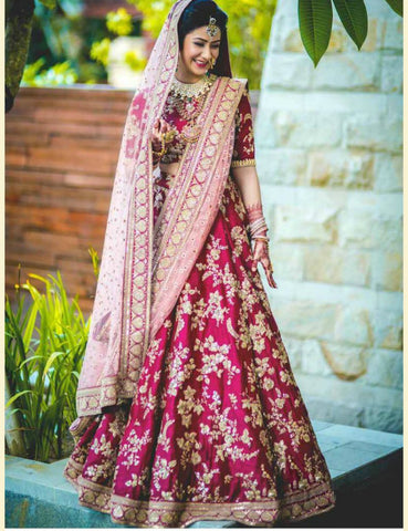 SF5136 Bridal Bollywood Inspired Pink Velvet Silk Net Lehenga Choli by Fashion Nation