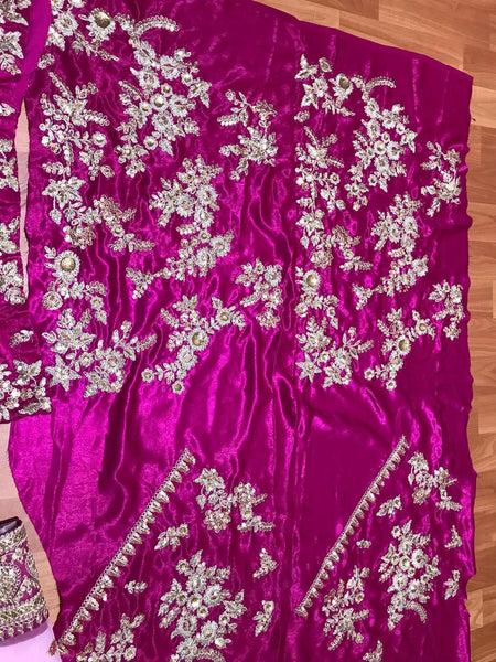 SF5136 Bridal Bollywood Inspired Pink Velvet Silk Net Lehenga Choli - Fashion Nation
