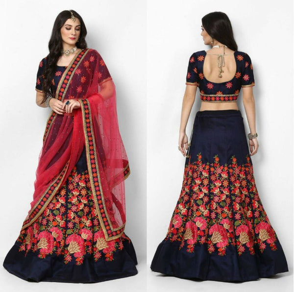 Regal SF5154 Bollywood Inspired Blue Pink Silk Net Lehenga Choli - Fashion Nation