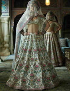 Dainty SF5167 Bollywood Inspired White Multicoloured Silk Net Lehenga Choli by Fashion Nation