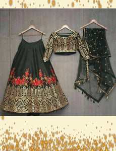 Fabulous SF5171 Bollywood Inspired Black Multicoloured Silk Net Lehenga Choli by Fashion Nation