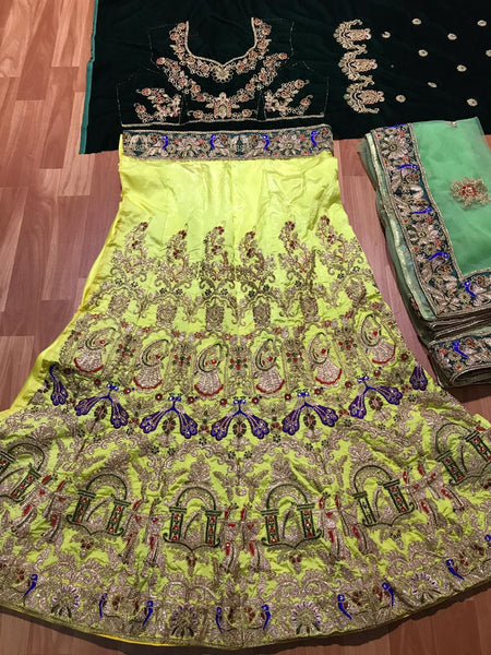 Festive SF5172 Bollywood Inspired Yellow Green Silk Velvet Net Lehenga Choli - Fashion Nation