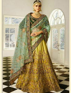 Festive SF5172 Bollywood Inspired Yellow Green Silk Velvet Net Lehenga Choli by Fashion Nation