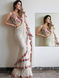 Designer SF5539 Bollywood Inspired White Multicoloured Net Silk Ruffle Saree - Fashion Nation
