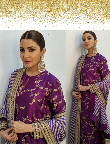 Anushka Sharma SF6139 Bollywood Inspired Purple Silk Georgette Salwar Kameez - Fashion Nation
