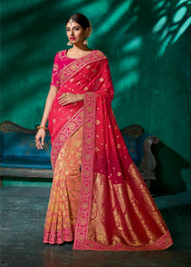Brilliant SS1105 Designer Peach Shaded Pink Viscose Silk Saree - Fashion Nation