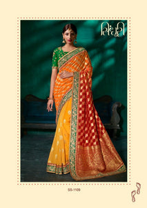 Festive SS1109 Bridal Yellow Orange Red Green Viscose Silk Saree by Fashion Nation